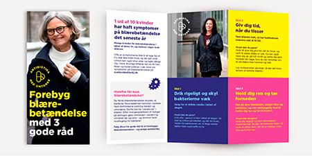 """Billede af brochuren """"Forebyg blærebetændelse med 3 gode råd"""""""