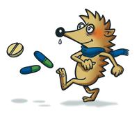 Forkølet pindsvin sparker medicin væk