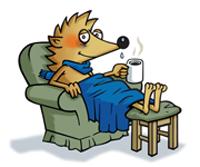 Forkølet pindsvin i lænestol med varm te